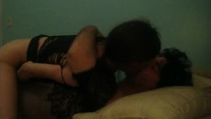 couple in lingerie foreplay
