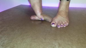 Cruel cockcrush and footjob in fishnet overall