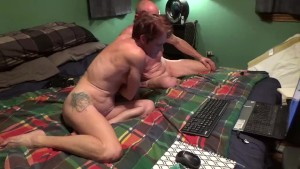Hung Husband gets cock sucked MILF is fucked by large dildo and fingered