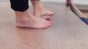Cockcrush footplay and footjob with barefeet and cumshot