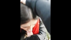 FIRST TIME OUTDOOR PUBLIC BLOWJOB CUM ON TONGUE AND LIPS COLD SNOWY OUTSIDE