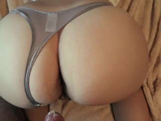 Girl in gray panties doggy style